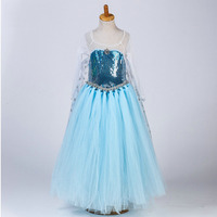 Hot Sale Kids Party Wear Frocks Design Long Tutu Style Cape Sequined Party Dresses For Girls