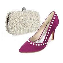 Elegant spitz satin kleid schuhe passenden perle handtasche lila kleid schuhe für party prom cocktail braut hochzeit
