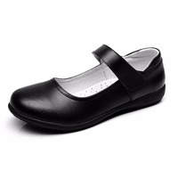 BBX Brand Kids Shoes Girls School Uniform Dress Shoes Black Genuine Leather Flats For Toddle Little
