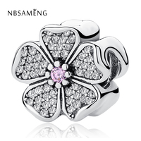 NBSAMENG Authentic 100 925 Sterling Silver White Flower Pink Crystal Bead Charms Fit Bracelets Bangles Luxury