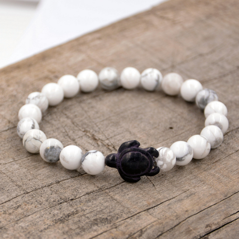 Hand-Crafted-Sea-Turtle-White-Stone-Bracelet