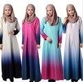 2016 Limitada Turca Abaya Caftan Djellaba Posou Vestido de Vestes Dubai No Oriente médio Muçulmano Malaio Feminino Íris Gradiente