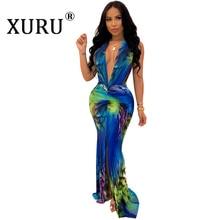 XURU summer new womens printed dress sleeveless fashion V-neck large swing nightclub