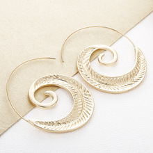 Hello Miss 2019 new fashion personality earrings exaggerated round spiral leaf womens jewelry
