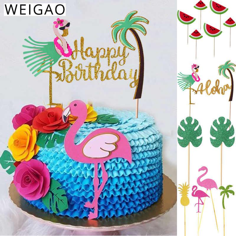 Astonishing Summer Birthday Party Cake Toppers Cupcake Decor Flamingo Funny Birthday Cards Online Alyptdamsfinfo