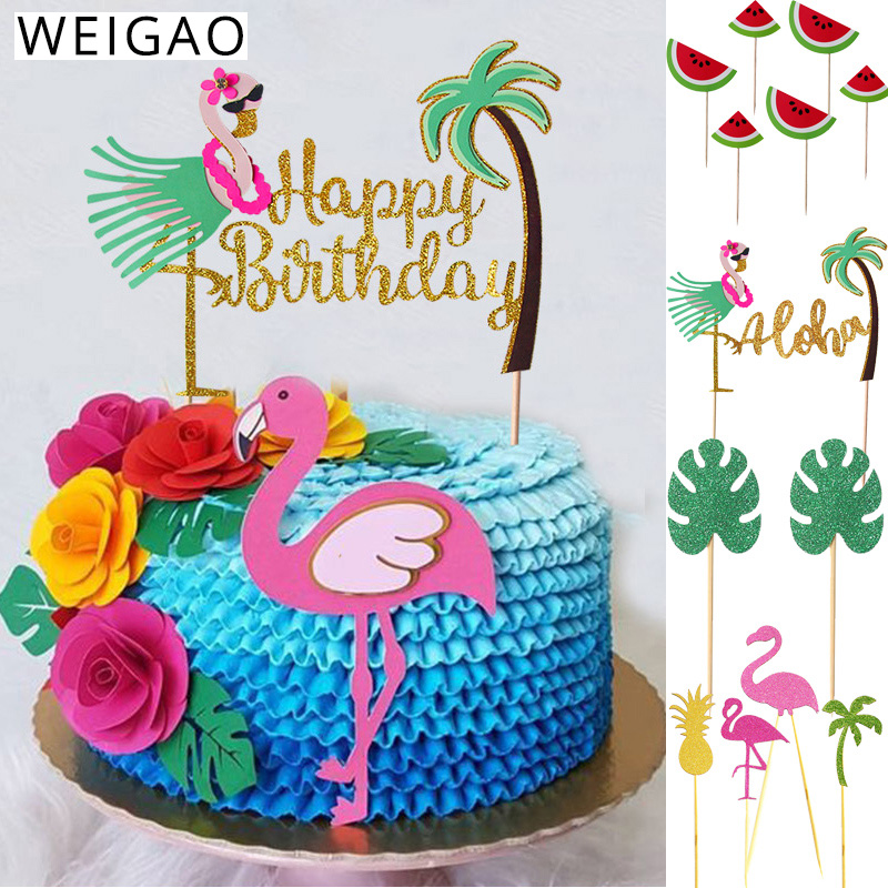 Summer Birthday Party Cake Toppers Cupcake Decor Flamingo Pineapple Aloha Cake Decorating Supplies For Tropical Hawaii Party Cake Decorating Supplies Aliexpress