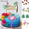 Toppers de pastel de fiesta de cumpleaños de verano decoración de Cupcake flamenco piña Aloha suministros de decoración de pastel para fiesta Tropical de Hawaii