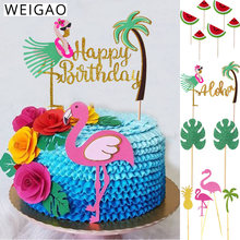 夏の誕生日パーティーケーキトッパーケーキフラミンゴパイナップルアロハケーキ装飾用品熱帯ハワイパーティー