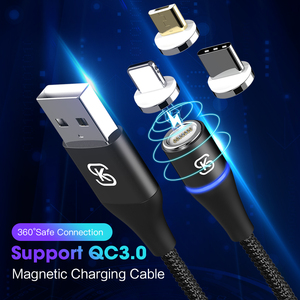 SIKAI 2019 Newset Design 1 m 3A Nylon Runde Magnetische Kabel Micro Kabel Für IPhone Microusb QC3.0 Magnet Kabel für samsung