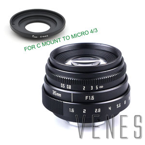 Image 1 - Jvenes Mini 35mm f/1,6 APS C TV lente + C Macro anillo adaptador de cámara para Micro 4/3/Pentax Q OM DE M10 II E M5 IIE M1 E M5