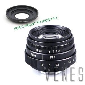 Image 1 - VENES Mini 35mm f/1.6 APS C TV Lens + C Anel Macro para câmera adaptador para Micro 4/3 /para Pentax Q OM DE M10 II E M5 IIE M1 E M5