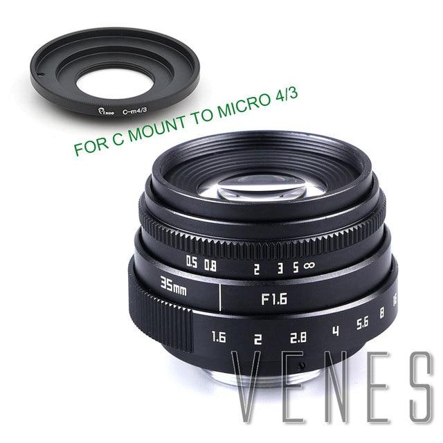 VENES Mini 35mm f/1.6 APS C TV Lens + C Anel Macro para câmera adaptador para Micro 4/3 /para Pentax Q OM DE M10 II E M5 IIE M1 E M5
