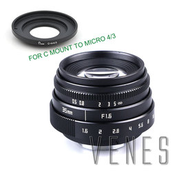 VENES Mini 35mm f/1.6 APS-C TV Lens +C Macro Ring to camera adapter for Micro 4/3 / for Pentax Q OM-DE-M10 II E-M5 IIE-M1 E-M5