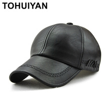 TOHUIYAN Mens Leather Baseball Cap Classic Curved Brim Snapback Hat Autumn Winter Warm Caps Adjustable Bone Masculino Fitted Hat unique artificial leather adjustable snapback hat