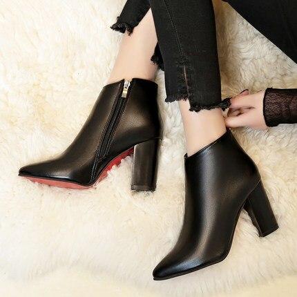 a71b4f2fb Mujer Nuevas Tacones Y De Puntiagudas Altos Cremallera Lateral Martin  Zapatos oro Sexy rojo Botas Europeas ...