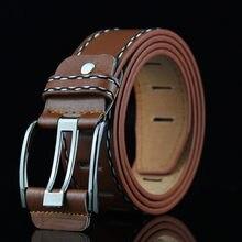 Cinto de couro masculino 3.7cm largura 100 to135cm cintos de couro masculino fivela de pino masculino cintura preta