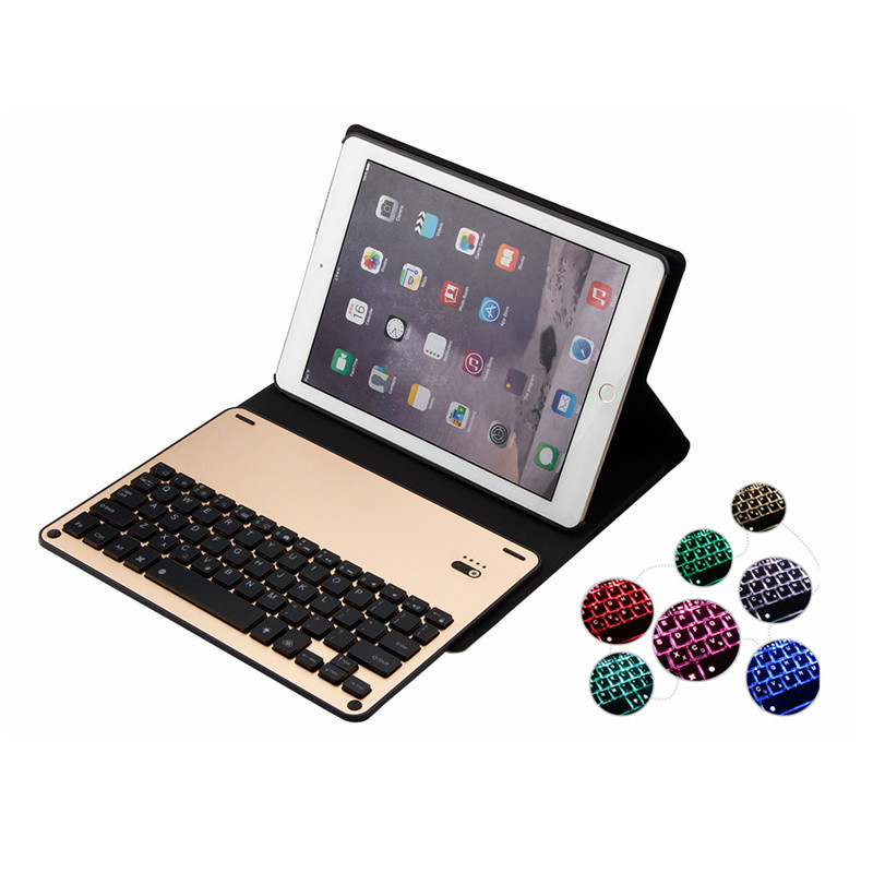 For iPad 9.7 inch New 2017 2018 A1822 A1823 Ultra Slim Bluetooth Aluminum Keyboard Case Cover for iPad Pro 9.7 / Air 1 2 Tablet 2017 new leather case cover beautiful gift new 1pc for ipad pro 12 9inch ultra aluminum bluetooth keyboard with pu kxl0421