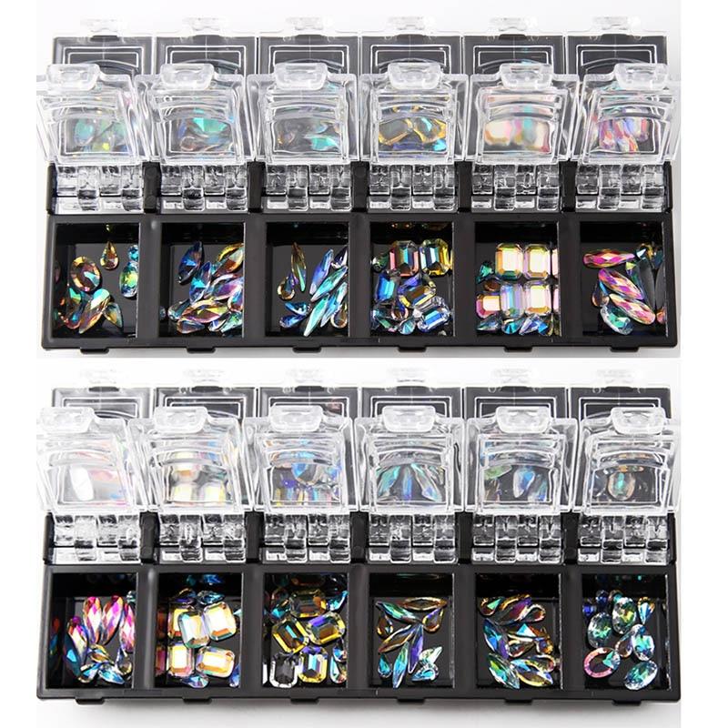 Новый 12 набор 3D для ногтей комплект прозрачного хрусталя смешанные Размеры леди накладные ногти наклейки украшения с литейный Ящик Контейн...