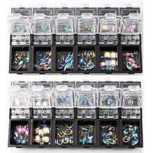 12 box/set 3d arte do prego colorido cristal claro tamanho misturado senhora unhas dicas decalques decoração com caixa de armazenamento recipiente peças do prego