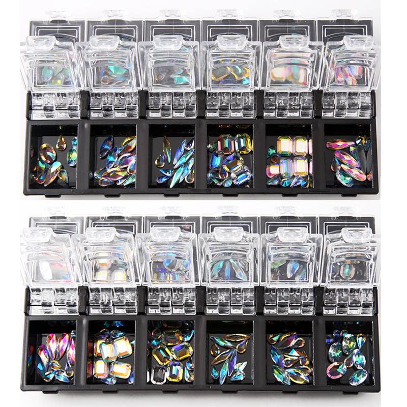 12 Box/Set 3D Nail Art Colorful Clear Crystal Mixed Size Lady Nails Tips Decals Decoration With Storage Box Container