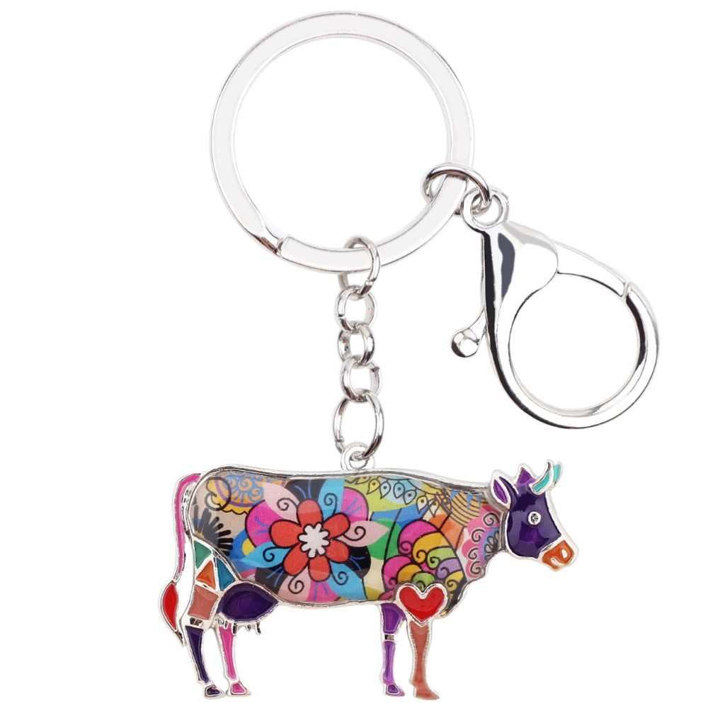 Bonsny esmalte Metal Floral ganado Toro llavero joyería para damas mujeres adolescentes bolso coche granja Animal encantos