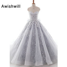 Awishwill Gorgeous Appliques Wedding Dress 2019 Ball Gown
