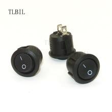 10 szt. Okrągły kołyskowy przełącznik czarny Mini okrągły czarny 2 Pin ON OFF