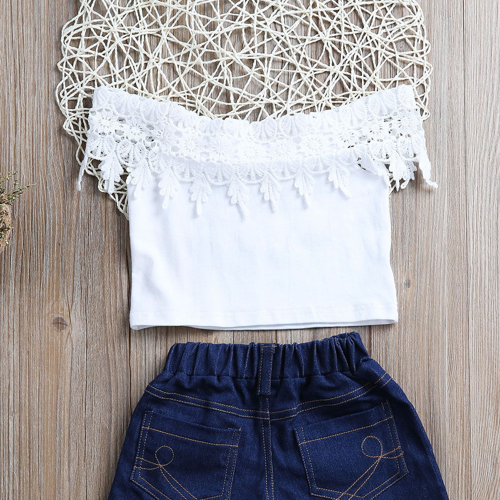 71cb13447 New Arrivals Toddler Kids Baby Girls Clothes White Lace Tops+Denim ...