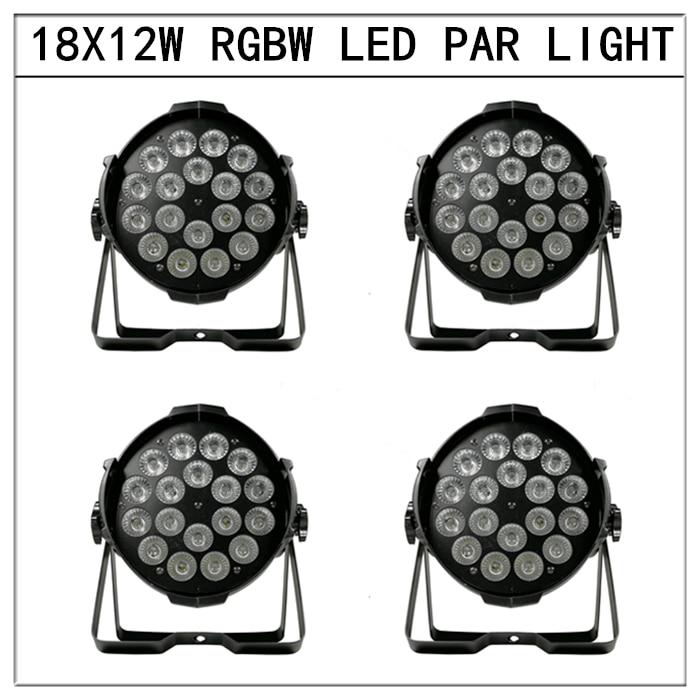 4pcs/18x12w 4in1 led par lights rgbw  flat par lights profession dmx512 led lights