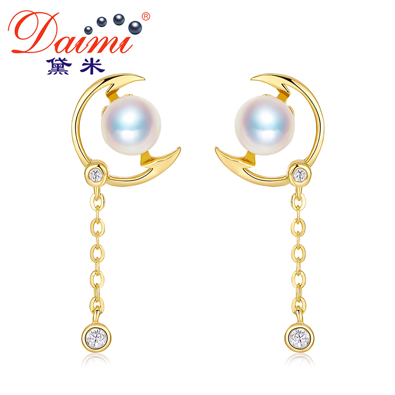 DAIMI Brand Design Genuine Pearl Earring 5-5.5mm Akoya Pearl Earring 925 Silver Earring Prefectly Round Pearl Earring все цены
