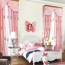 Cartoon Girl Pink Kitty Cat Embroidered Curtains Bedroom Bay Window Childrens Housing Products Customized Processing Screens