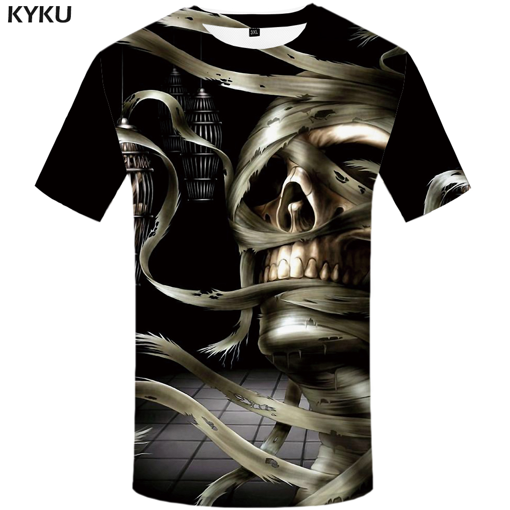 3251294e2b0 KYKU Brand Skull T shirt Women Gothic Tops Punk 3d T shirt Hip Hop Clothes  Funny Shirts Plus Size Womens Cool Big Top Tee Woman-in T-Shirts from  Women s ...
