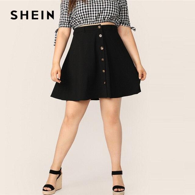 SHEIN حجم كبير أسود زر حتى مضيئة تنورة 2019 المرأة الصيف عادية ألف خط الصلبة حجم كبير فوق الركبة التنانير القصيرة القصيرة