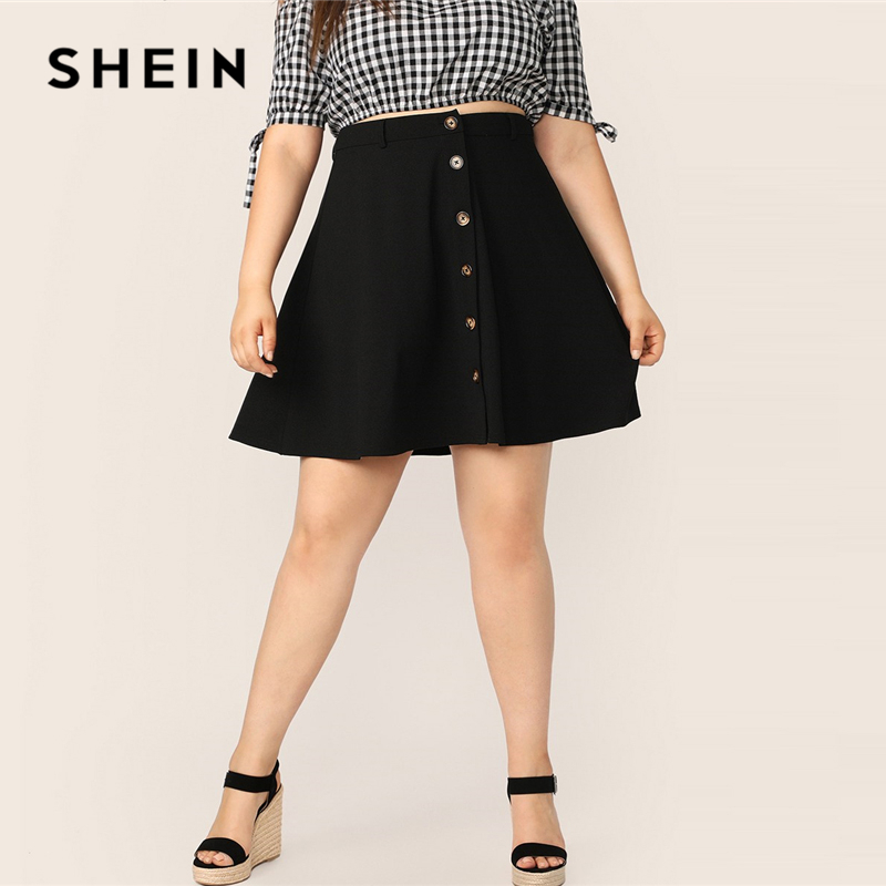 SHEIN Plus Size Black Button Up Flare Skirt 2019 Women Summer Casual A Line Solid Big Size Above Knee Mini Short Skirts-in Skirts from Women's Clothing