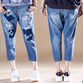 New 2016 Summer New Retro Large Code Elastic Waist  Letter  Printing Straight  Jeans Loose Seven Jeans