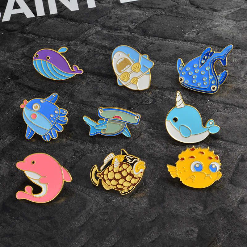 漫画の動物のブローチ海洋生物たいやきクジライッカクサメフグ魚タコイルカピンバックルラペルアクセサリー