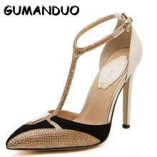 GUMANDUO 2017 New Style Women Pumps Sexy Hollow Pointed Stiletto Heels Diamond Spell Color High Heels Gold Dress Shoes Woman