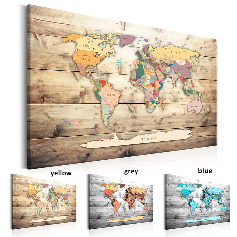 Modern Wall Art Single Pieces World Map Wooden Background Canvas Print Picture Living Room Home Decor Poster Painting