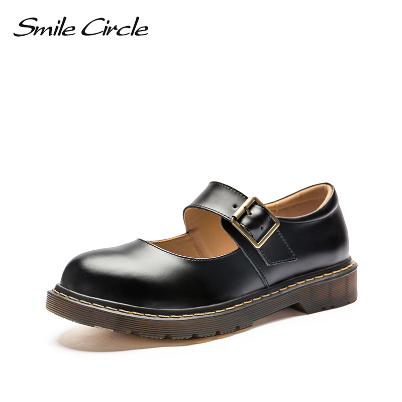 Smile Circle Mary Jane Flats Shoes Women Genuine Leather platform shoes Autumn 2018 Comfortable Round Toe