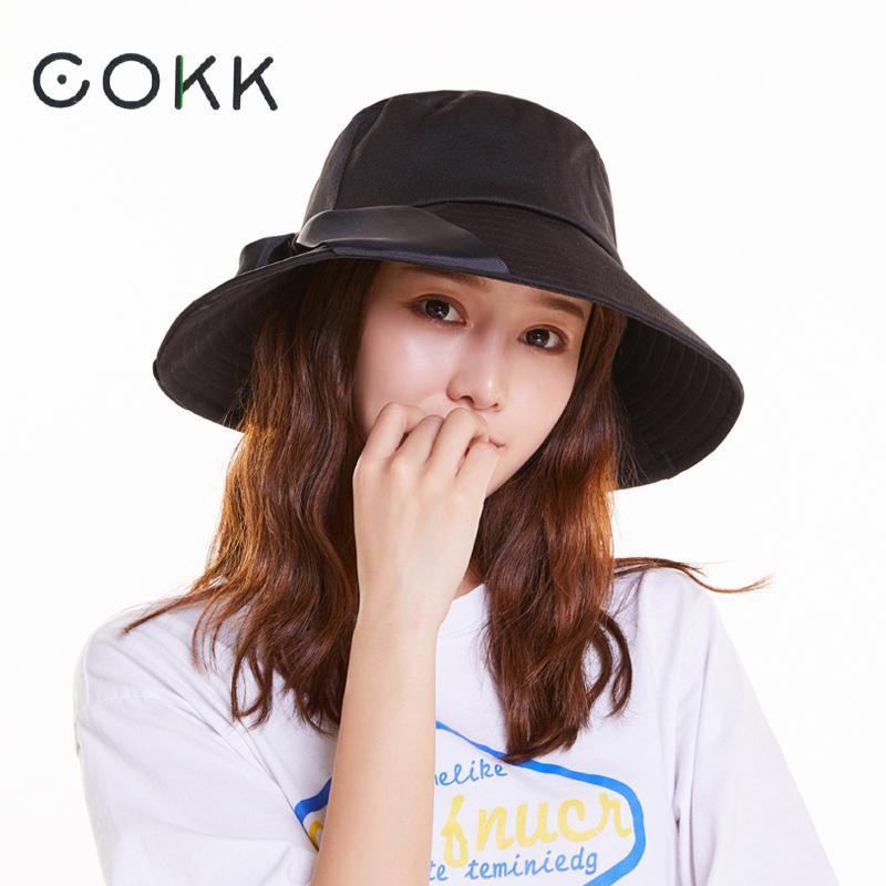 02ed5ffc84f7f9 COKK Summer Hats For Women Lady Big Wide Brim Bucket Hat With Ribbon Sun  Hat Female