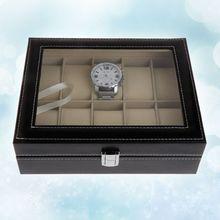 Искусственная кожа, органайзер, коробка для часов, искусственная кожа, чехол для хранения, подарочные коробки для ювелирных изделий, высокое качество, 10 слотов, сетки, часы