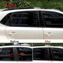 4 pcs DIY New PC car styling mirror bright window pillar trim cover case For Volkswagen vw new POLO parts accessories 1 pcs diy new polyester car styling blackout front dashboard mat pad cover case for volkswagen vw new polo parts accessories