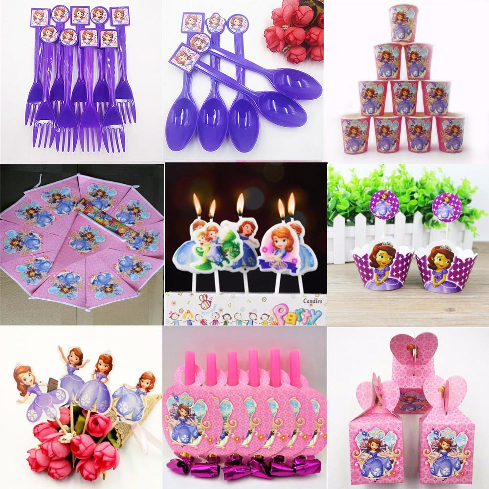 Sofia Princess Party Supplies Napkins CandlesTablecloth Plates Cup Knives And Forks Spoon seal Popcorn Birthday Party Decoration