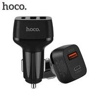 QC 3.0 Szybka Typu C QC3.0 HOCO Szybkie Ładowanie 3 Port USB Ładowarka samochodowa USB-C Samochód Ruchomych Telefon komórkowy Ładowarka Dla Samgsung Xiaomi iPhone