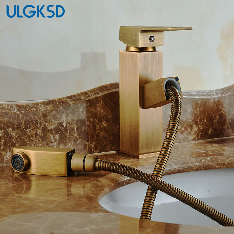 ULGKSD Antique Brass Basin Faucet Pull Out Sprayer Nozzle Single Handle Hot and Cold Water Mixer Tap Para Bathroom Sink