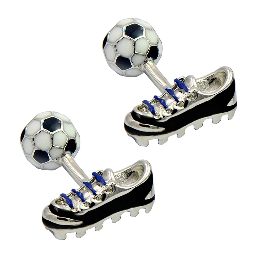 Soccer and shoes interesting enamel cufflinks, creative double sided cufflink, sport fashion cufflinks
