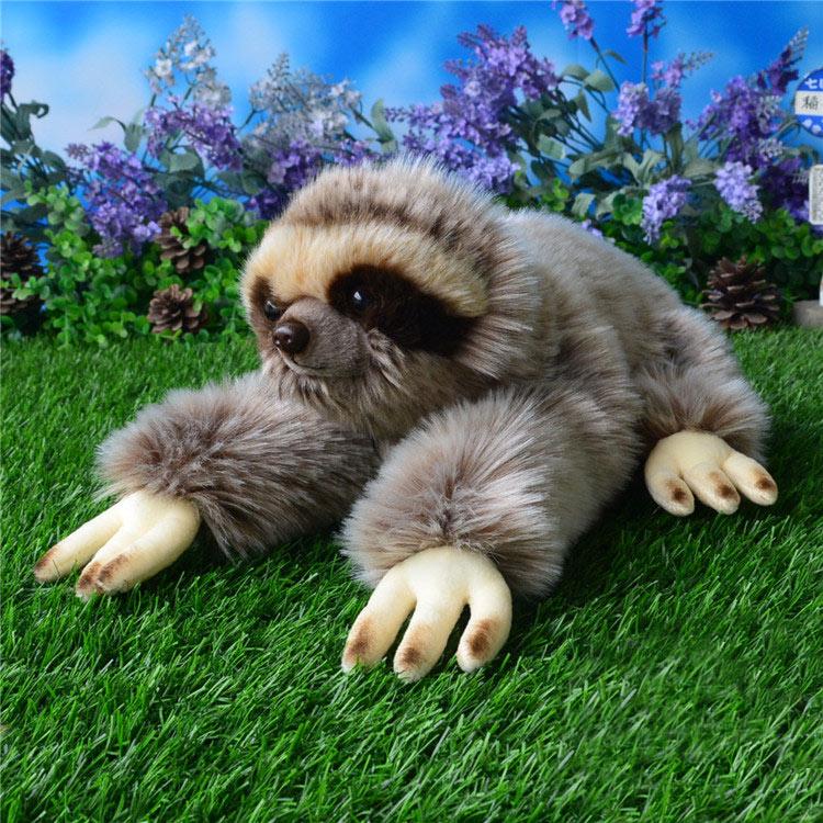 33CM Kawaii Lying Three-toed Sloth Plush Toys Soft Simulation Animal Toys Sloths Plush Dolls Christmas Gifts все цены