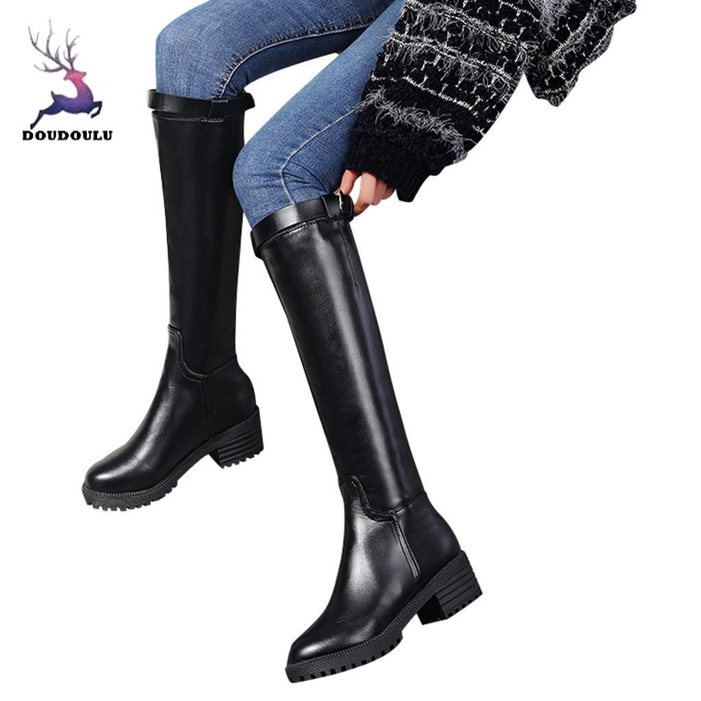 100% QualitäT Damen Casual Mode Runde Kappe Med Heels Platz Heels Schuhe Knie-hohe Stiefel Schuhe Frau Zapatos De Mujer Plus Größe 35 ~ 43