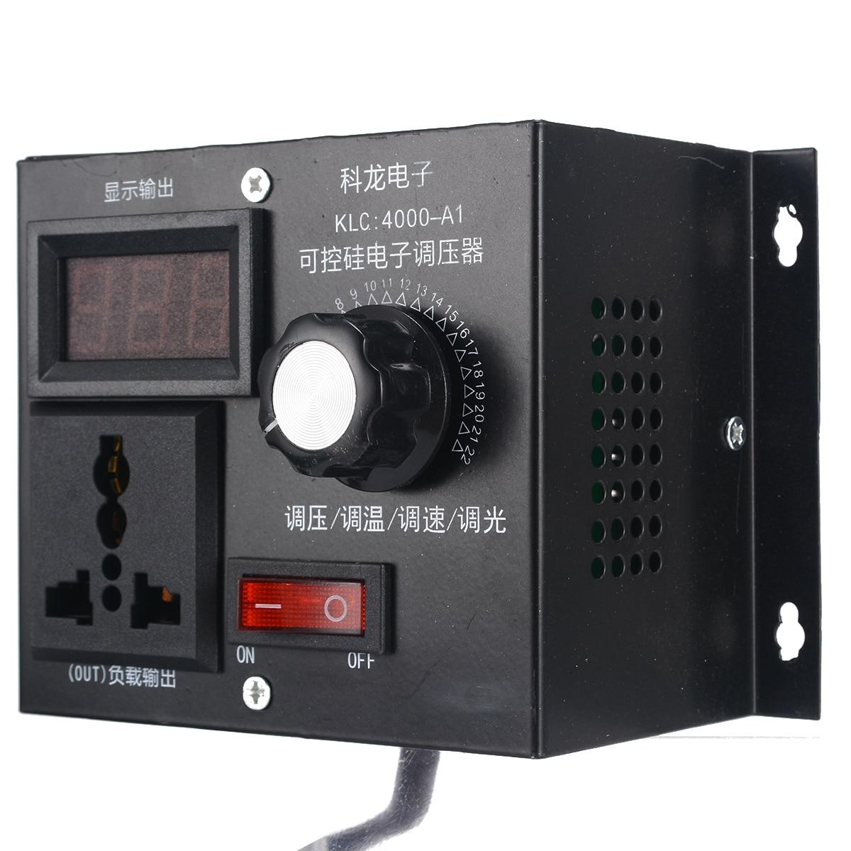 High Quality 220V 4000W Electronic Variable Voltage Controller For Fan Speed Motor Control Dimmer Voltage Regulator Adjustment