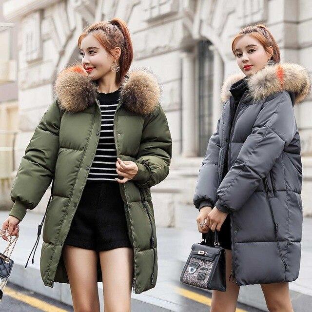 zozowang 2018 New yellow Winter Jacket Women Parka Fake Fur Collar Down Wadded Female outerwear Cotton-Padded Jackets Women Coat 4